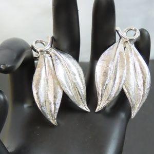 Vintage Stamped Emmons Silver Leaf Clip Earrings